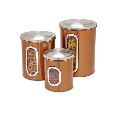 Honey Can Do Steel Canister Set - 3pc copper, stainless top / copper body ( KCH-01026 )