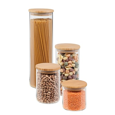 Honey Can Do 4 Pcs Storage Jar Set, bamboo / glass ( KCH-06527 )
