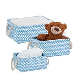Honey Can Do Zig Zag Set of 3 Baskets, light blue ( STO-06691 )