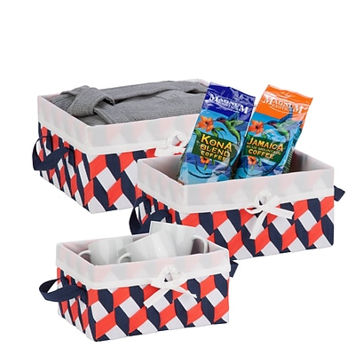 Honey Can Do Twisted Tote Set of 3, Navy, Orange, White