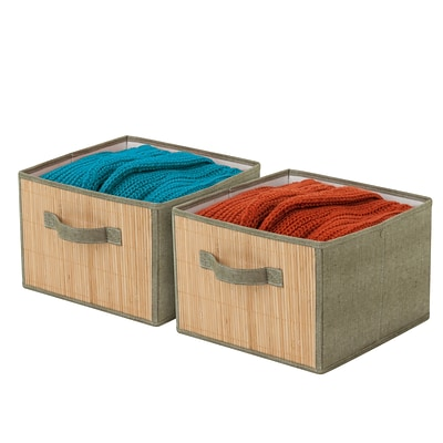 Honey Can Do 2-pk drawers with bamboo front, green / bamboo ( SFT-03381 )