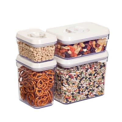 Honey Can Do 4 Pcs Storage Jar Set, white ( KCH-06539 )