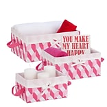 Honey Can Do Twisted Tote Set of 3, Pink, Light pink, white ( STO-06675 )