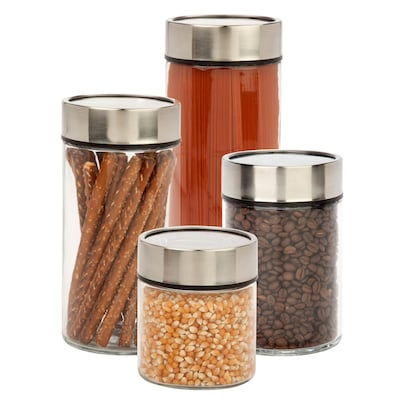 Honey Can Do 4 Pcs Glass Canister Set With Date Dial Lid, Black/clear ( Kch 06481 )