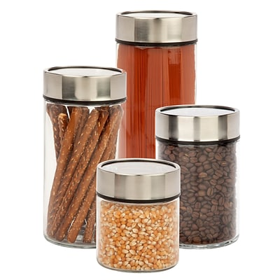 Honey Can Do 4 Pcs Glass Canister Set with Date Dial Lid, black/clear ( KCH-06481 )