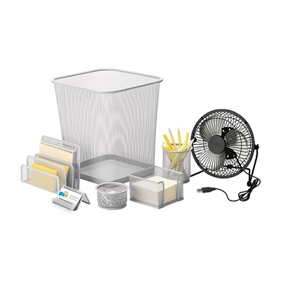 Honey Can Do Desk Essentials Set, Silver ( OFCX06820 )