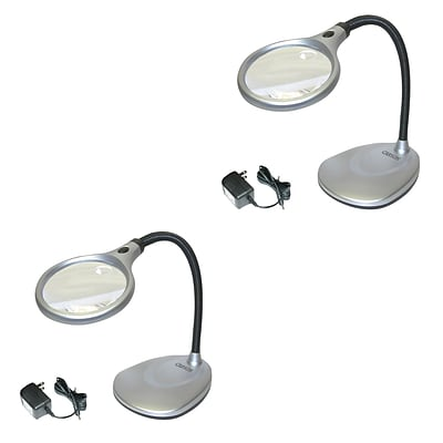 2 Pack Carson Lm-20 Deskbrite200 2x Led Magnifying Lamp With 5x Spot Lens