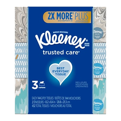 Kleenex Standard Facial Tissue, 2-Ply, 144 Sheets/Box, 3 Boxes/Pack (37392)