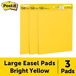 Post-it® Super Sticky Easel Pad, 25 x 30, Bright Yellow, 30 Sheets/Pad, 3 Pads/Pack (559YW-3PK)