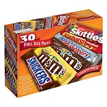 M&MS, Snickers, Skittles, Starburst & 3 Musketeers Full Size Candy Bars Assorted Variety Box, 56.11