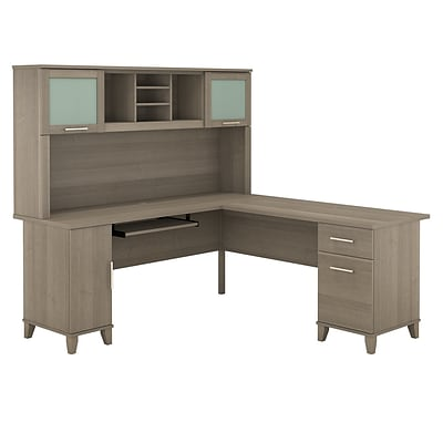 Bush Furniture Somerset 72W L Shaped Desk with Hutch, Ash Gray (SET001AG)