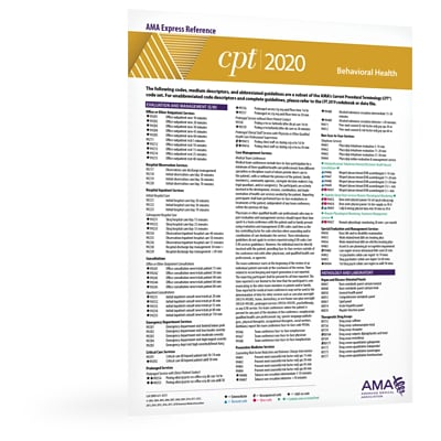 AMA 2020 CPT Express Reference Coding Card: Pulmonary/Respiratory (ER408120)