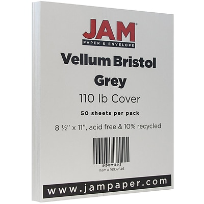 JAM Paper® Vellum Bristol 110lb Index Colored Cardstock, 8.5 x 11 Coverstock, Grey, 50 Sheets/Pack (16932846)