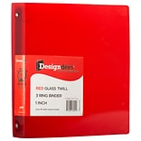 JAM Paper Standard 1 3-Ring Flexible Poly Binder, Red (751T1RE)