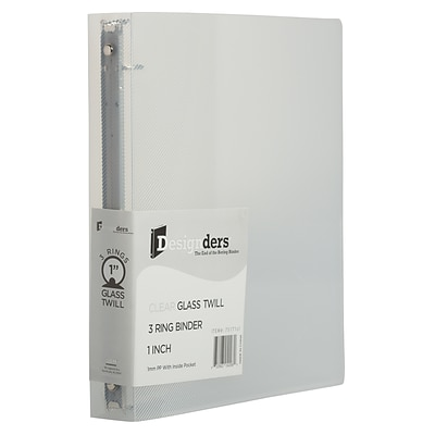 JAM PAPER Plastic 1 3-Ring Binder, Clear (751T1CL)