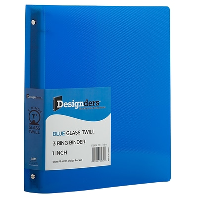 JAM Paper Standard 1 3-Ring Flexible Poly Binder, Blue (751T1BU)