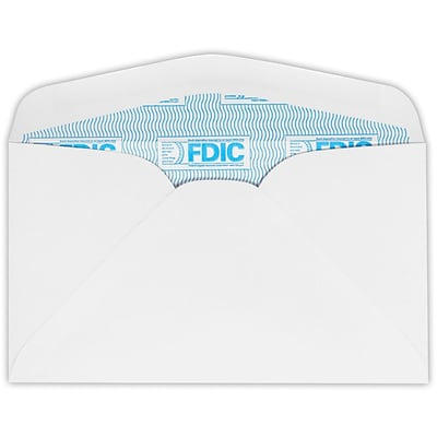 LUX #6 3/4 Regular Envelopes (3 5/8 x 6 1/2) 1000/Pack, 24lb. White w/ FDIC Sec. Tint (634-FDIC-1000)