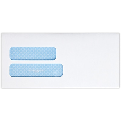 LUX 4 1/8 x 8 7/8 Double Window Envelopes 50/Pack, 24lb. Bright White w/ Sec. Tint (48DW-W-50)