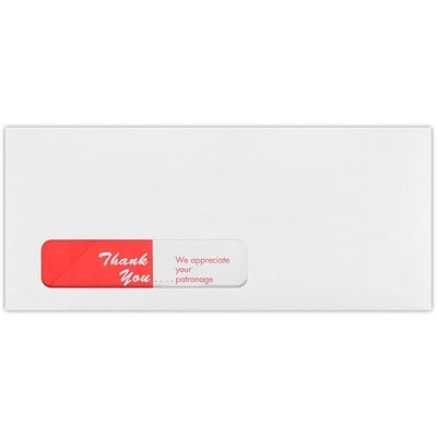 LUX #10 Spot-Lite Window (4 1/8 x 9 1/2) 500/Pack, White w/ Red Thank You Imprint (WS-3304-500)