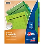 Avery Big Tab Insertable Plastic Dividers, 8-Tab, Assorted Colors, 8/Set (11901)