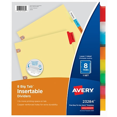 Avery Big Tab Insertable Dividers, 8-Tab, Multicolor, Set (23284)