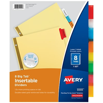 Avery Big Tab Insertable Paper Dividers, 8-Tab, Multicolor (11111)