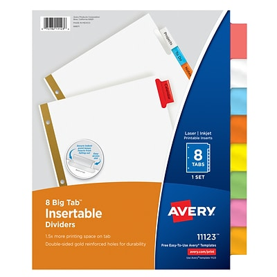 Avery Big Tab Insertable Dividers, 8-Tab, Assorted Colors (11123)
