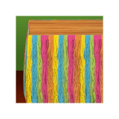 Amscan Summer Luau Party Table Skirts, Neon Fringe, 3/Pack (570028)