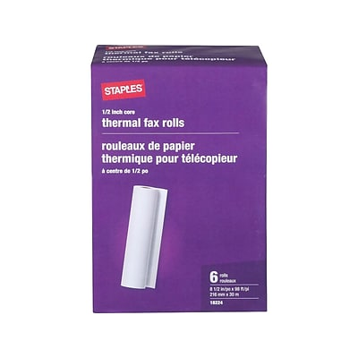 Staples 8.5 x 98 Thermal Fax Paper, 6/Carton (27123/269571/18)