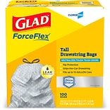 Glad ForceFlex 13 Gallon Tall Kitchen Trash Bags with Odor Control, .72 mil., Gray, 100 Bags/Box (70