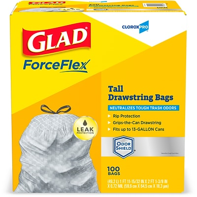 Glad ForceFlex 13 Gallon Tall Kitchen Trash Bags with Odor Control, .72 mil., Gray, 100 Bags/Box (70427)