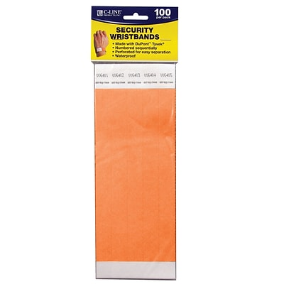 C-Line DuPont Tyvek Security Wristbands, Orange, 100/Pack (CLI89102)