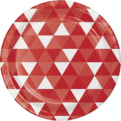 Celebrations Classic Red Fractal Paper Plates 8 pk (319960)