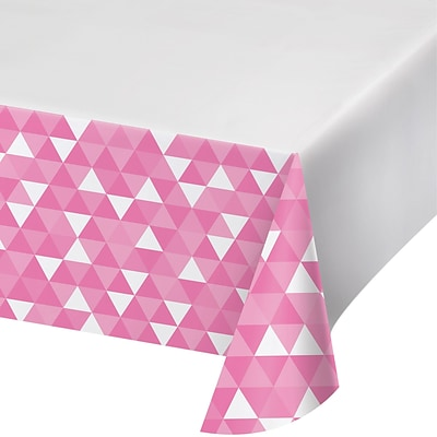 Celebrations Fractal Plastic Tablecloth, Candy Pink (324463)