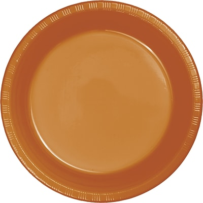 Touch of Color Plastic Dinner Plates, Pumpkin Spice Orange, 20/Pack (324810)
