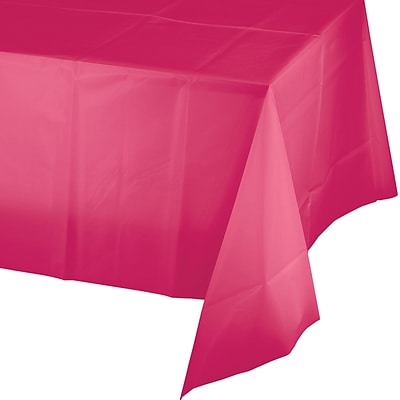Touch of Color Hot Magenta Pink Plastic Tablecloth (01413B)