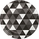 Celebrations Fractal Paper Dessert Plates, Black Velvet, 8/Pack (324469)