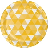 Celebrations Fractal Paper Dinner Plates, School Bus Yellow, 8/Pack (319962)