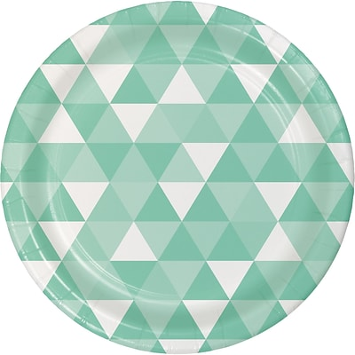 Celebrations Fresh Mint Green Fractal Paper Plates 8 pk (324475)