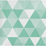 Celebrations 2 Ply Fractal Beverage Napkins, Fresh Green Mint, 16/Pack (324474)