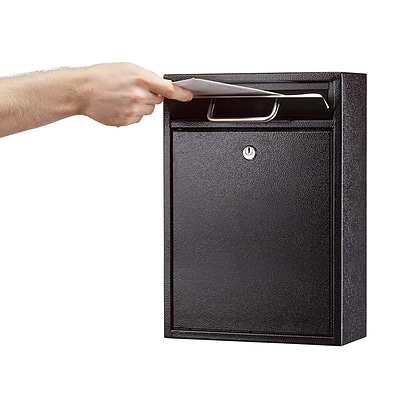 AdirOffice Ultimate Black Wall Mounted Large Mail Box  4.7D x 11.2W x 16.2H (631-04-BLK)