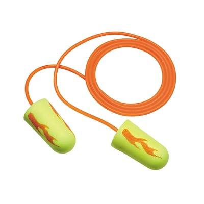 3M™ E-A-Rsoft™ Yellow Neon Blasts™ Earplugs, Corded, Poly Bag, Regular Size, 2000 Pairs/Case (311-1252)