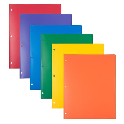 JAM PAPER Heavy Duty 3-Hole Punched 2 Pocket School Folder, Assorted Colors, 6/Pack (383HHPRGBYPBL)