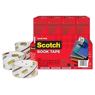 Scotch® Book Tape, Transparent, Value Pack, Various Widths in Sizes, 3 Core, 8 Rolls (845-VP)