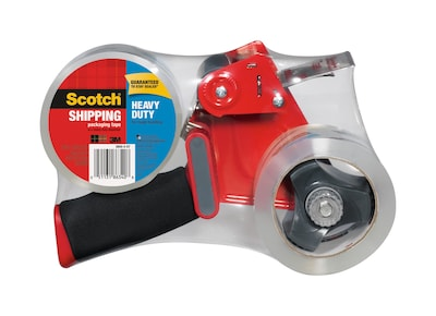"Scotch® Heavy Duty Shipping Packing Tape with Heavy Duty Dispenser, 1.88"" x 54.6 yds., Clear, 2 Rolls (3850-2ST)"