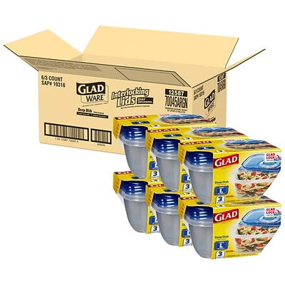 Glad® Deep Dish Containers, 64 Oz., 3 Containers/Pack, 2 Packs/Carton (70045)