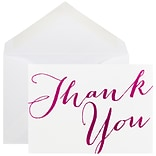 JAM Paper® White with Black Script Thank You Cards, 10/Pack