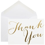 JAM Paper® White with Pink Script Thank You Cards, 10/Pack