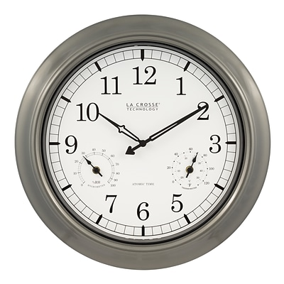 La Crosse Technology 18 Inch IN/OUT Atomic Analog Clock with Thermometer and Hygrometer (WT-3181PL)