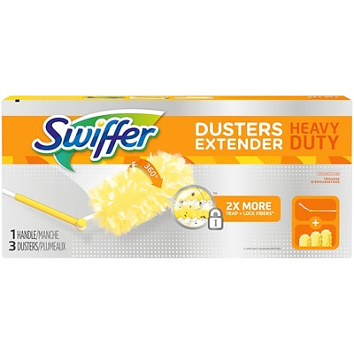 Swiffer® 360 Durable Heavy Duty Fiber Dusters with Extendable Handle Kit, White/Yellow